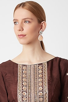 Gold Finish Brown Stone Earrings by VASTRAA Jewellery
