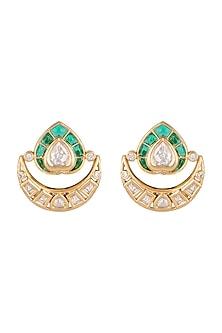 Gold Finish Green Stone Stud Earrings by VASTRAA Jewellery
