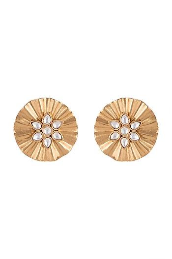 Gold Finish Kundan Textured Earrings by VASTRAA Jewellery
