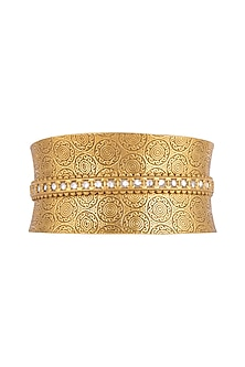 Gold Finish Kundan Cuff Bracelet by VASTRAA Jewellery