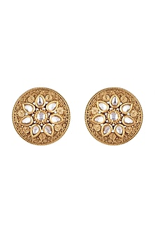 Gold Finish Engraved Stud Earrings by VASTRAA Jewellery