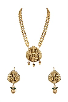 Gold Finish Long Temple Necklace Set by VASTRAA Jewellery