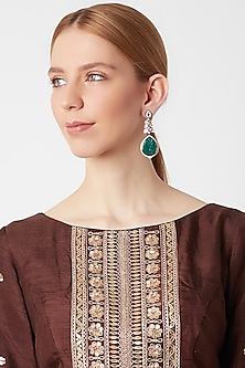 Black Rhodium Finish Kundan Earrings by VASTRAA Jewellery