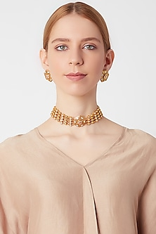 Gold Finish Meenakari Choker Necklace Set by VASTRAA Jewellery
