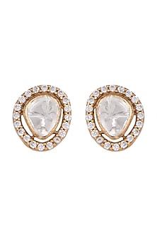 Gold Finish Diamond Stud Earrings by VASTRAA Jewellery