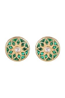 Gold Finish Green Meenakari Earrings by VASTRAA Jewellery