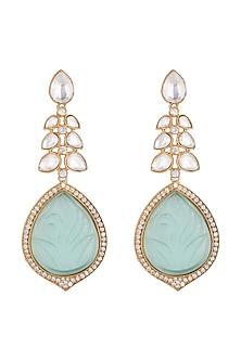Gold Finish Kundan Earrings by VASTRAA Jewellery