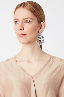 White Finish Antique Parrot Chandbali Earrings by VASTRAA Jewellery