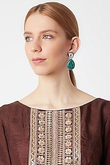 White Finish Kundan Earrings by VASTRAA Jewellery