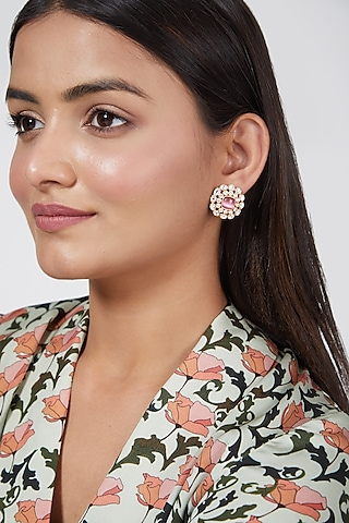 Gold Finish Pink Stone Stud Earrings by VASTRAA Jewellery