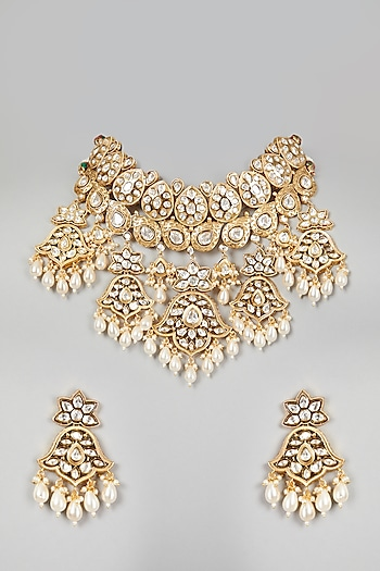 Gold Finish Pearl Drop Choker Necklace Set by VASTRAA Jewellery