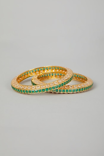 Gold Finish Faux Diamond Bangles by VASTRAA Jewellery