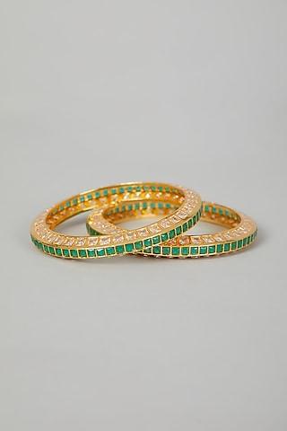 Gold Finish Faux Diamond Bangles by VASTRAA Jewellery