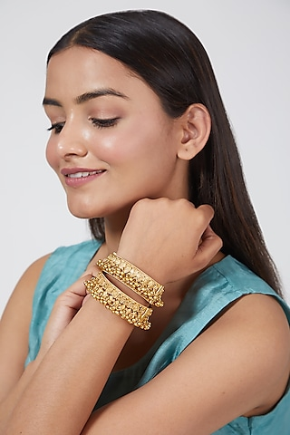 Gold Finish Openable Bangles by VASTRAA Jewellery