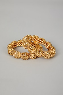 Gold Finish Carved Floral Bangles by VASTRAA Jewellery-WEDDING GIFTING