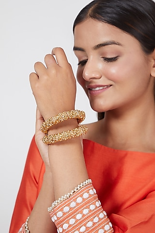 Gold Finish Carved Floral Bangles by VASTRAA Jewellery