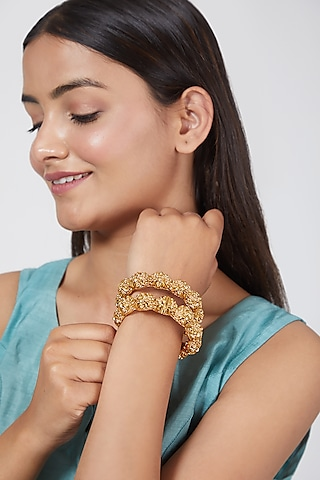 Gold Finish Carved Openable Bangles by VASTRAA Jewellery