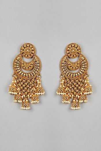 Gold Finish Pearl Long Earrings by VASTRAA Jewellery
