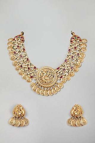 Gold Finish Temple Motif Necklace Set by VASTRAA Jewellery