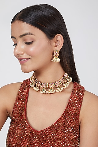 Gold Finish Pearl Choker Necklace Set by VASTRAA Jewellery
