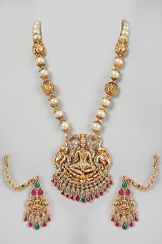 Gold Finish Temple Motif Mala Necklace Set by VASTRAA Jewellery