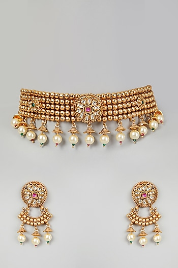 Gold Finish Kundan & Pearl Choker Necklace Set by VASTRAA Jewellery