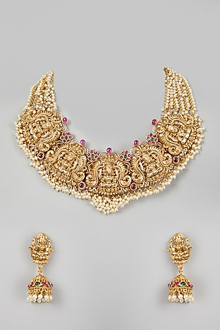 Gold Finish Pearl Temple Necklace Set by VASTRAA Jewellery