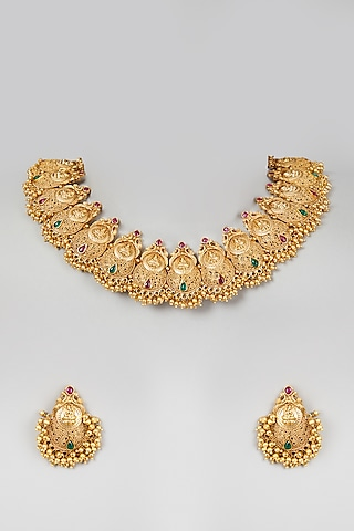 Gold Finish Temple Choker Necklace Set by VASTRAA Jewellery