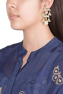 Gold Finish Faux Pearls, Kundan & Pink Stones Earrings by VASTRAA Jewellery