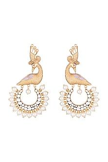 Gold Finish Faux Pearls & Kundan Peacock Motif Earrings by VASTRAA Jewellery