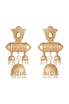 Gold Finish Faux Kundan & Pearl Long Earrings by VASTRAA Jewellery