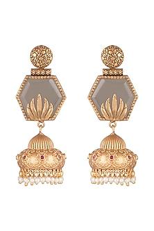 Gold Finish Faux Pearls & Grey Stone Earrings by VASTRAA Jewellery