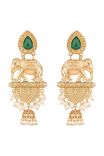 Gold Finish Faux Pearl & Green Stone Earrings by VASTRAA Jewellery