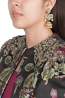 Gold Finish Faux Pearls & Turquoise Blue Stones Earrings by VASTRAA Jewellery