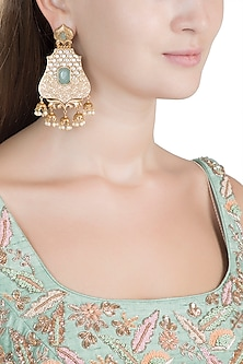 Gold Finish Faux Pearl, Kundan & Light Blue Stone Earrings by VASTRAA Jewellery