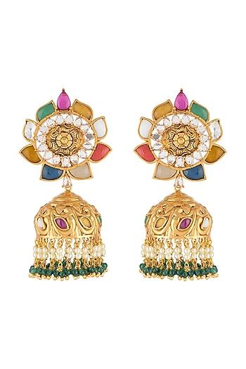 Gold Finish Navratna Jhumka Earrings by VASTRAA Jewellery