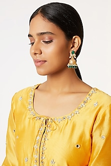 Gold Finish Green Stone Jhumka Earrings by VASTRAA Jewellery