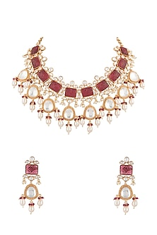 Gold Finish Red Stone Necklace Set by VASTRAA Jewellery-JEWELLERY ON DISCOUNT