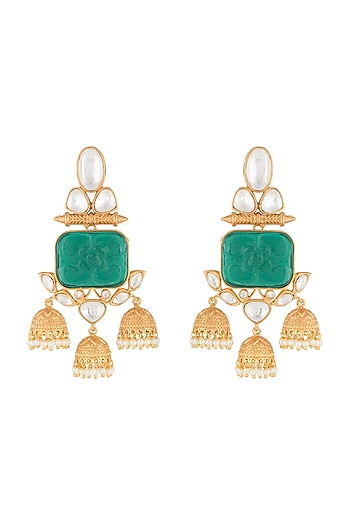 Gold Finish Green Stone Dangler Earrings by VASTRAA Jewellery