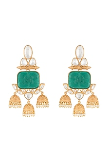 Gold Finish Green Stone Dangler Earrings by VASTRAA Jewellery-JEWELLERY ON DISCOUNT