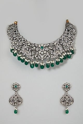 White Finish Green Beaded Necklace Set by VASTRAA Jewellery