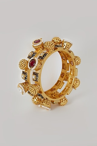 Gold Finish Enameled Bangles With Pearls by VASTRAA Jewellery