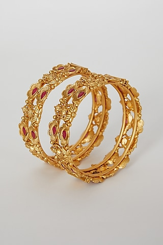 Gold Finish Openable Temple Motifs Bangles With Red Stones by VASTRAA Jewellery
