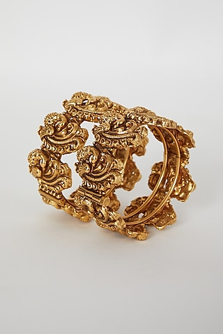 Gold Finish Openable Temple Motifs Bangles In Mixed Metal by VASTRAA Jewellery