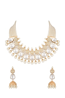 Gold Finish Faux Pearl, Diamond & Kundan Necklace Set by VASTRAA Jewellery