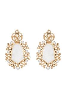 Gold Finish Faux Kundan, White Stone & Pearl Earrings by VASTRAA Jewellery