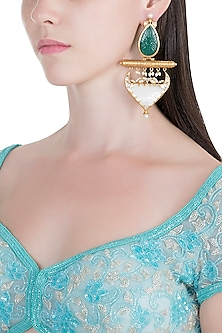 Gold Finish Green & White Stone Earrings by VASTRAA Jewellery