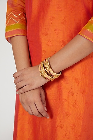 Gold Finish Ruby Openable Bangles by VASTRAA Jewellery