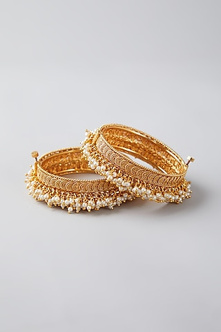 Gold Finish Pearl Openable Bangles by VASTRAA Jewellery