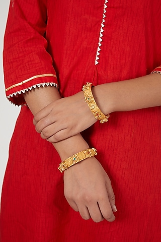 Gold Finish Red & Green Stone Bangles by VASTRAA Jewellery